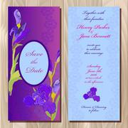 Wedding invitation card with purple iris flower background. Vector illustration - stock illustration