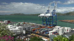 Stock Video Footage of Activity at container shipping port, cranes