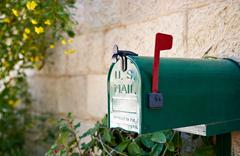 US post mail letter box with red flag Stock Photos