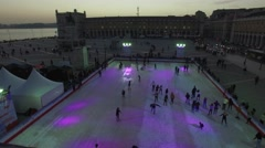 People at the Skating Rink Stock Footage