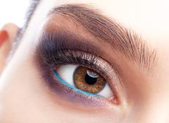 emale eye zone and brows with day makeup - stock photo