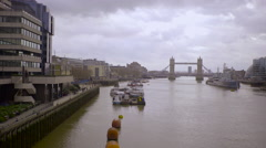 Extreme wide shot London Tower Bridge Stock Footage