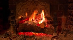 Fireplace with audio - stock footage