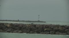 El Nino Stormy Waves Surf Jetty Rocks Splash Spray Crashing Gray Sky Grey Stock Footage