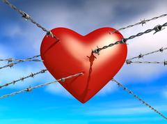 3d illustration of barbed wire - stock illustration