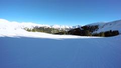 Alpine skiing at Loveland Basin ski resort in Colorado. Stock Footage