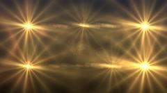 Golden flashing disco dance lights virtual stage Stock Footage