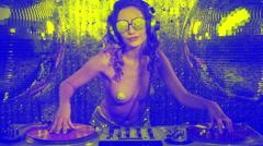 Dj music sexy babe gogo dancer diva party disco woman Stock Footage