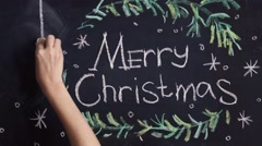 chalkboard background for Merry Christmas celebration - stock footage