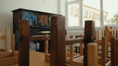 The old wooden upright piano 1 - stock footage