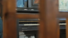 The old wooden upright piano 3 Stock Footage