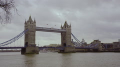 London Tourist Attraction Old Tower Bridge - stock footage