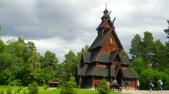 Stave church, norway, 4k Stock Footage