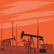 Oil pumps in the field. Landscape with sunset - stock illustration