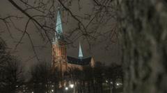 Klara kyrka (Church) Stockholm time-lapse Stock Footage