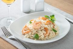 italian risotto with shrimps - stock photo