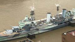Timelapse london city skyline skyscrapers architecture warship hms belfast Stock Footage
