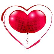 Red heart. Valentine Heart Symbol. Two bright balloons  isolated on white Stock Illustration