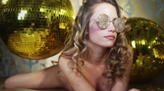 Gold sexy babe crystals sunglasses diva party disco woman Stock Footage