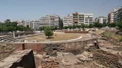 Roman Forum of Thessaloniki - ancient Roman-era forum of the city, Agora Stock Footage