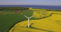 aerial view windpower turbine rapeseed fields - stock footage