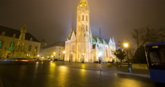 Matthias Church At Night, Time Lapse Budapest - Tilt Up - stock footage