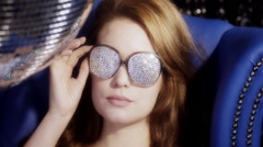 Silver sexy babe gogo diva party disco woman Stock Footage