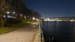 Hamburg by night time lapse - walk at Binnenalster area Stock Footage