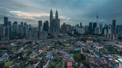 Cloudy Sunset Time Lapse at Kuala Lumpur city centre Stock Footage