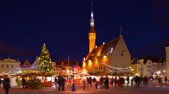 Tallinn Christmas/New year time, fair, Town hall square illuminated, time-lapse. Stock Footage