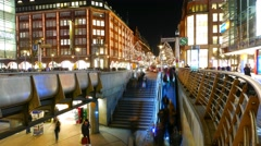 Hamburg by night timelapse shopping district Stock Footage