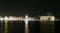 Floating Christmas tree on Binnenalster Hamburg Stock Footage