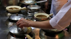 Chef prepare noodles and shark soup at restaurant. Chinatown, Bangkok, Thailand Stock Footage