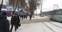 New Tram in Konotop City at Mir Avenue Tram Leaving Old Man is Walking and Stock Footage