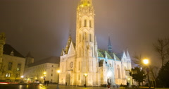 Matthias Church At Night, Time Lapse Budapest - Zoom Out - stock footage