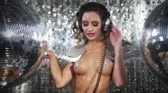 Dancer sexy babe gogo diva party disco woman Stock Footage