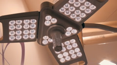 Modern surgical LED light in the operating room Stock Footage
