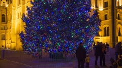 Christmas Tree In Front Off Parliament Building, Budapest, Hungary, Tilt Down Stock Footage