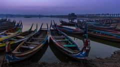 Small Port At U Pain (Bain) Bridge Landmark Place Of Myanmar And Sunrise Stock Footage