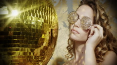 gold sexy babe crystals sunglasses diva party disco woman - stock footage