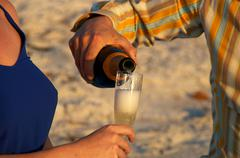 champagne at sunset - stock photo
