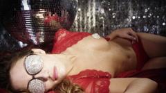 silver sexy babe gogo diva party disco woman - stock footage