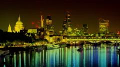 Timelapse london city skyline thames night england urban Stock Footage