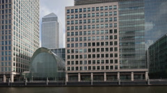 docklands canary wharf london finance city money business offices - stock footage