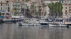 Soller port harbour fishing boats coast sea mallorca Stock Footage