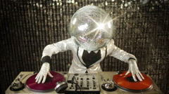 Disco man discoball glitterball party music dj Stock Footage