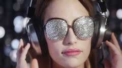silver sexy babe headphones diva party disco woman - stock footage