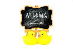 Wooden easel mini blackboard, text WEDDING - stock photo