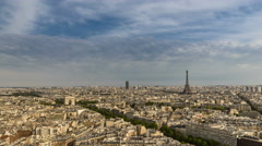 Paris Skyline with Eiffel Tower and Arch de Triomphe Stock Footage