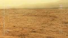 Mars rover camera panning shot, with camera shake, of moderate dust storm.   Stock Footage